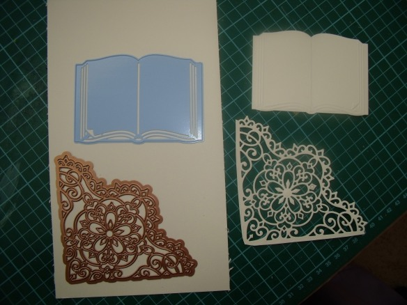 The raw materials, cream cardstock and dies