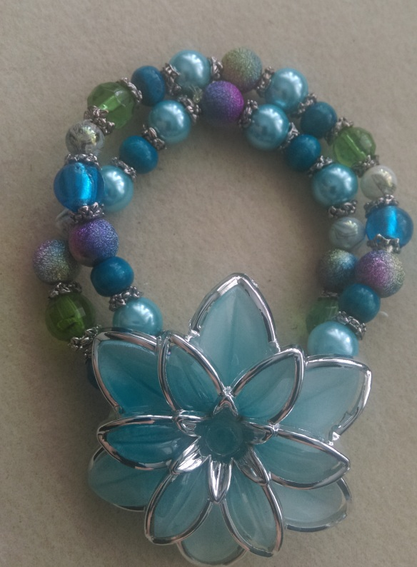 Stretch Bracelet Double layer with acrylic flower